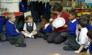 Four-year-old children working with numbers