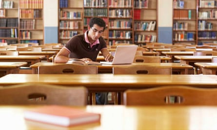 Student alone in library
