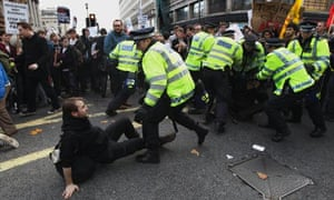 Scuffle at protest in London Nov 9 2011