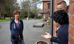 Zoe Readhead, principal at Summerhill school in Suffolk, talks to pupils