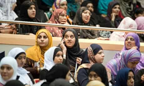 Young Muslim delegates attending an anti-terrorism event at a university