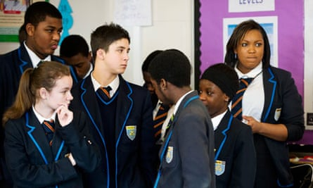 On trend: pupils sporting their Harris academy uniform in Merton, London.