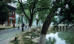 Students stroll on the campus of Peking University