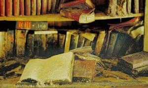 shelf of dusty books