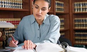 Female lawyer working in office