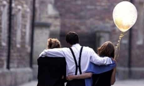 three students leaving university ball
