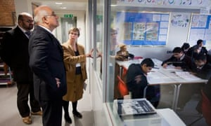 Ofsted chief Michael Wilshaw on a visit to Park View school in Birmingham.