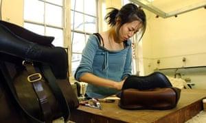 student making a bag
