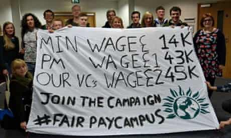 Students protest about university pay