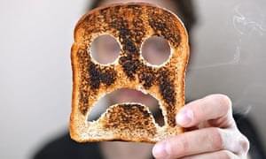 worried unhappy face on toast