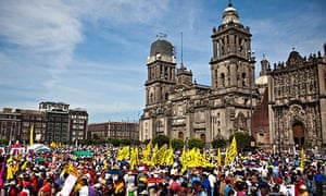 Election protests in the Zocalo in Mexico City