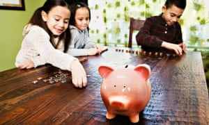 children counting coins piggy bank