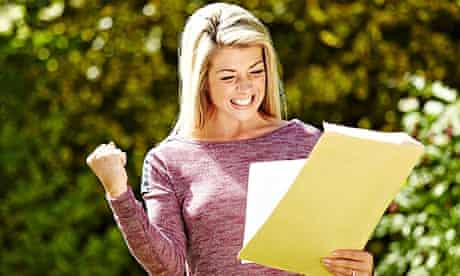 girl excited by envelope