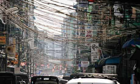 Traffic on a city street in Yangon, Burma.
