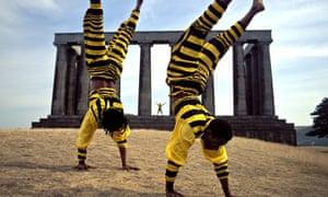 Acrobats on Calton Hill during the Edinburgh Fringe Festival