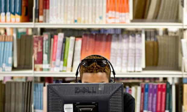 Student on library computer