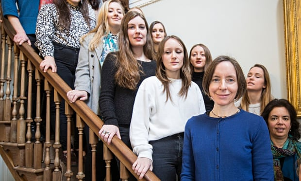 """Image of Dr Selina Todd, accompanied by young white female Oxford students. The image caption reads """"Selina Todd, of St Hilda's, Oxford, aims to champion the rights of women in universities."""""""