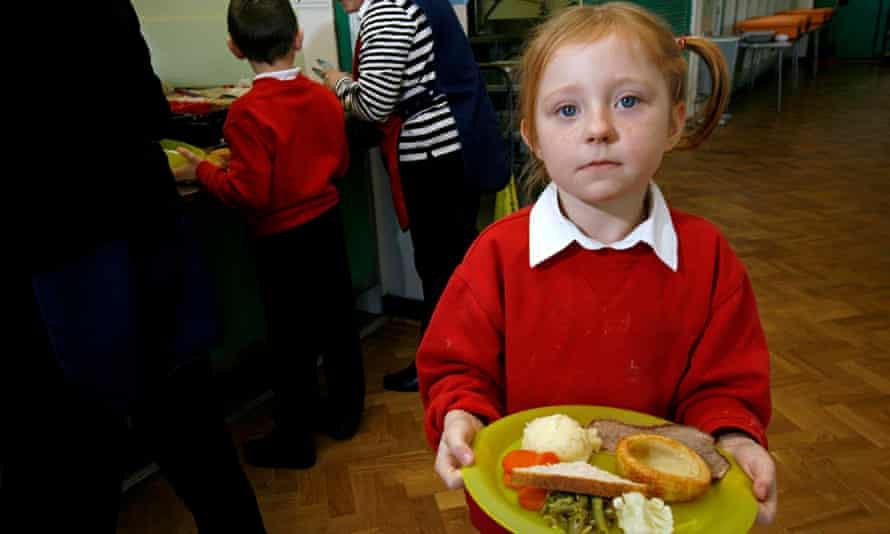 child with school dinner