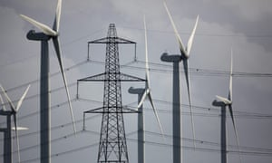Climate Change And Global Pollution At Copenhagen: electricy pylons with wind turbines, wind farm