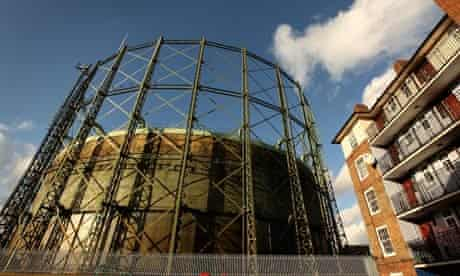 Climate Change And Global Pollution At Copenhagen: gasometer stands half-full of natural gas, energy