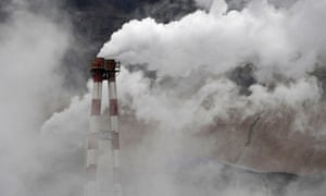 Climate change and pollution at Copenhagen: chimneys at steel and iron plant Shanxi province, China
