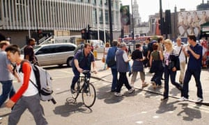 Bike blog: A cyclist ignores the red light at a pedestrian crossing in central London