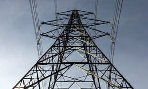 Climate Change And Global Pollution: An electricity pylon stands in the Essex countryside