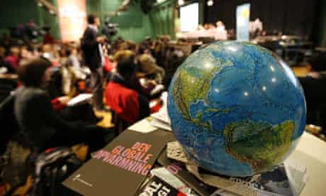 Copenhagen Diary : COP15 A globe  on a table during the Klimaforum09 conference in Copenhagen