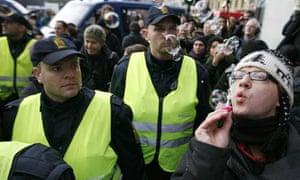 COP15 Demonstrator in protest in central Copenhagen