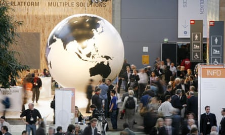 COP15A globe sits in the main hall at the UN Climate Change Conference, Bella center, Copenhagen