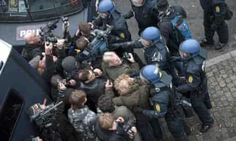 COP15 Police clash with journalists and photographersnear the Copenhagen Harbour