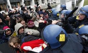 COP15 Danish police  beat protesters around the Bella Center in Copenhagen