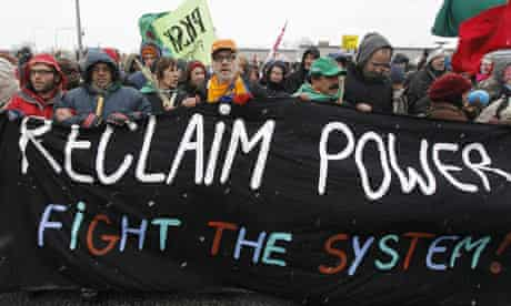 COP15 Protestors march towards the Bella Center during a demonstration in Copenhagen