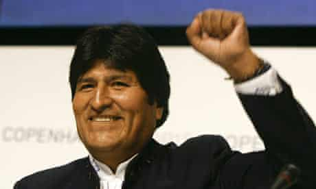 COP15 Bolivian President Morales at a press conference at the Bella Center in Copenhagen