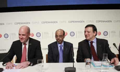 COP15 Ethiopia Prime Minister Meles Zenawi with Fredrik Reinfeldt Jose Manuel Barroso