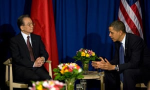COP15 US President Barack Obama  speaks with Chinese Prime Minister Wen Jiabao