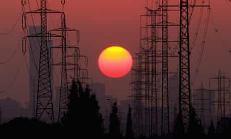 Climate Change And Global Pollution in Israel,  The sun sets behind high-tension power lines, CO2