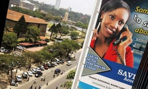 MDG: Broadband in Africa : An advertisement billboard showing a woman talking on a phone  , Kenya