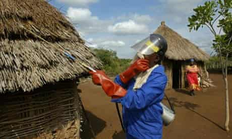 A health worker spays DDT in Jozini , South Africa