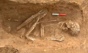 A skeleton found on the site of a Roman road and settlement at Syon Park, Isleworth, in West London