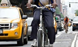 Bike blog : NYC bike culture : Cyclists ride in bike lane Bridge New York City