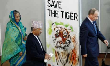 Vladimir Putin, Madhav Kumar, Sheikh Hasina at  International Tiger Forum