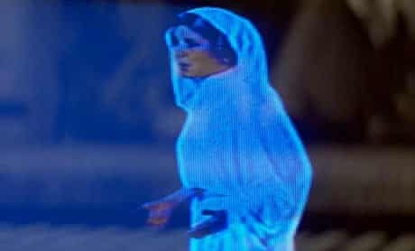 Hologram of Princess Leia in the first Episode of Star Wars