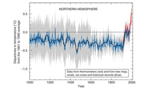 "Michael Mann's graph of temperature dubbed the ""hockey stick graph"""