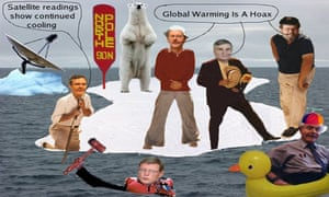 Collage of 'marooned' climate sceptics