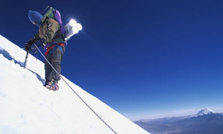 Porters Descending with Ice Core Samples