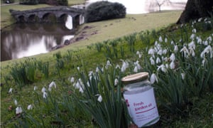 Jars of free National Trust fresh air collected from Lake Windermere in Cumbria