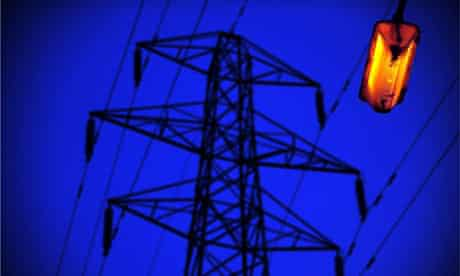 Carbon targets: Electricity pylon and street light at Norden, Greater Manchester