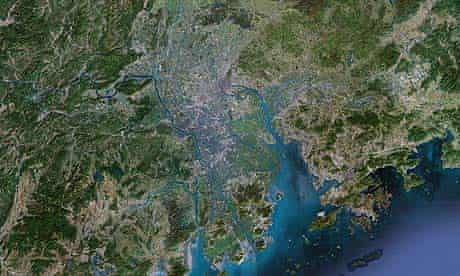 The first mega city along the The Pearl River Delta, in China, Hong Kong, Shenhzen and Guangzhou