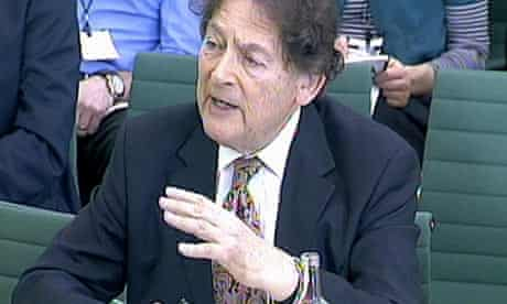 Lord Lawson appears before the Science and Technology Committee in Portcullis House